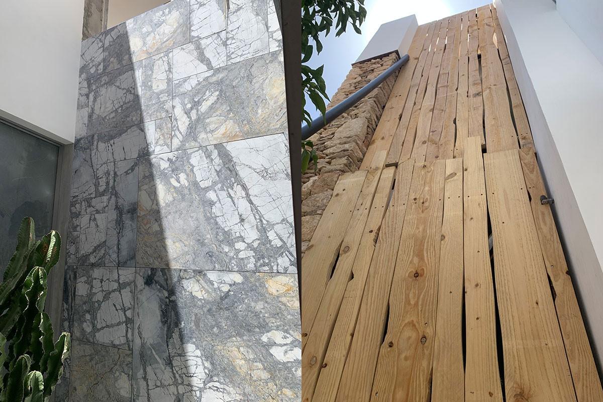Fachada exterior en diferentes materiales`